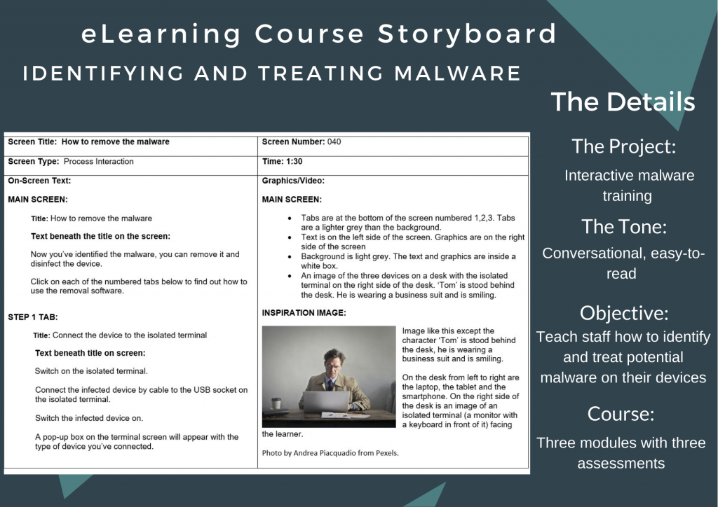 Project details for an eLearning storyboard on anti-malware training